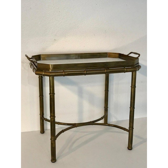 Mid-Century Modern Faux Bois Campaign Style Patinated Brass Tray Table, by Mastercraft For Sale - Image 3 of 9