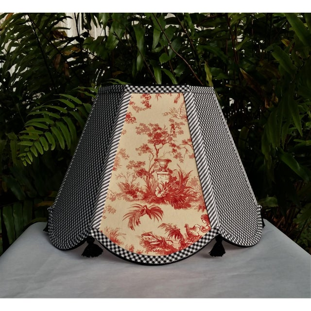 Red Toile Lampshade Black White Gingham For Sale In West Palm - Image 6 of 11