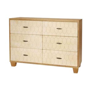 Art Deco Julian Chichester Oak and Vellum Fishscale Chest For Sale