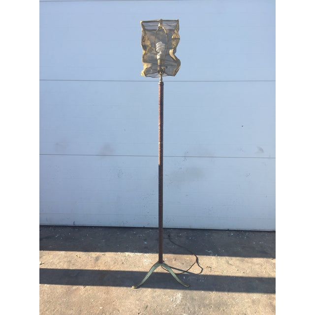 Vintage Floor Lamp With Screen Shade - Image 3 of 8