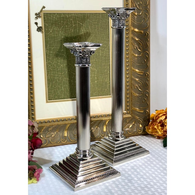 English Godinger Corinthian Column Silverplated Candle Holders - a Pair For Sale - Image 3 of 10