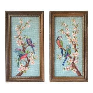 Blue Bird Motif Chinoiserie Needlepoints - a Pair For Sale