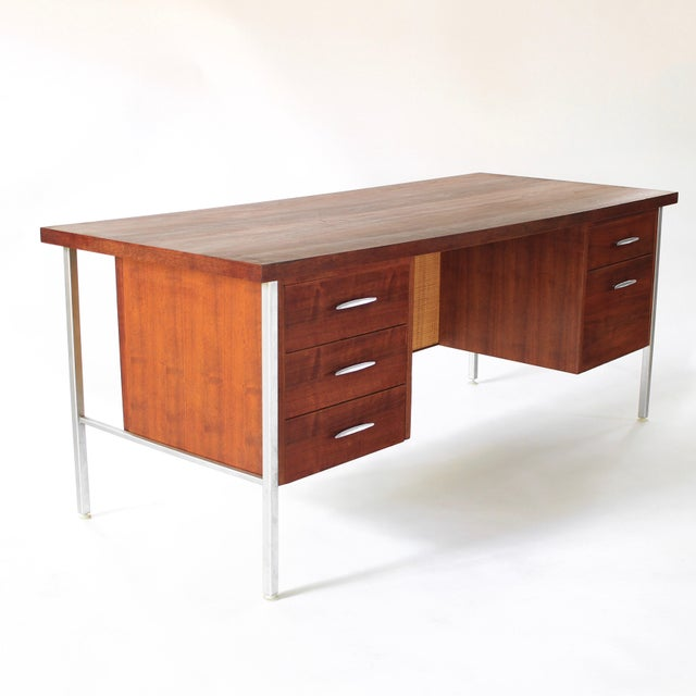 Florence Knoll 1950s Mid Century Modern Florence Knoll Style Walnut and Cane Desk For Sale - Image 4 of 13