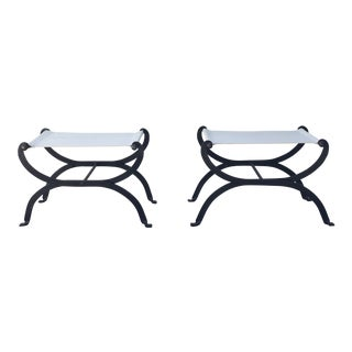 Mecox Iron & Fabric Benches - A Pair For Sale
