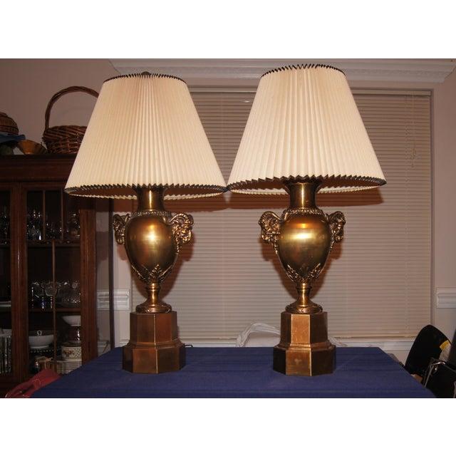 Neoclassical Brass Rams Head Lamp - Pair - Image 2 of 3