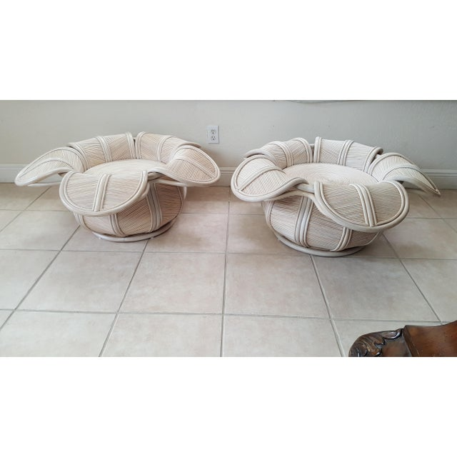 Gabriella Crespi 1970s Hollywood Regency Rattan Pencil Reed Bell Flower Coffee Tables - a Pair For Sale - Image 4 of 11