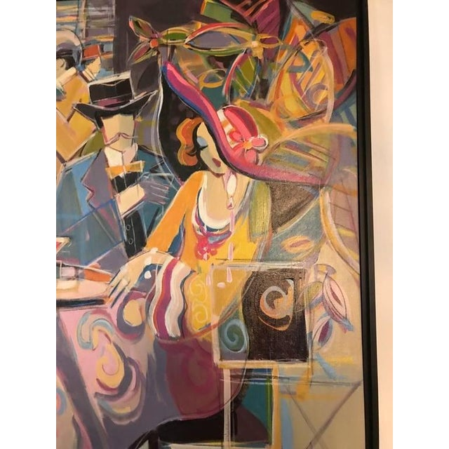 """Acrylic Original Isaac Maimon Signed """"Sharing Great Times"""" For Sale - Image 7 of 10"""
