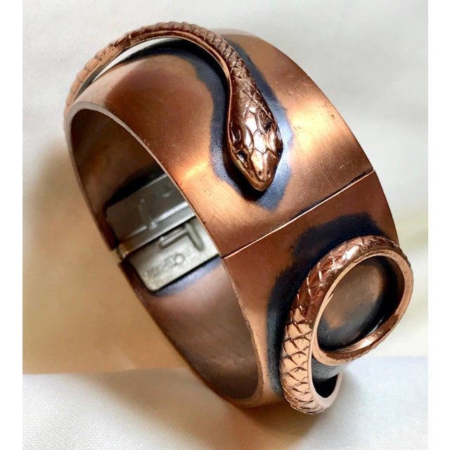 Whiting & Davis Mid-Century Copper Snake Hinged Bangle For Sale In Los Angeles - Image 6 of 7