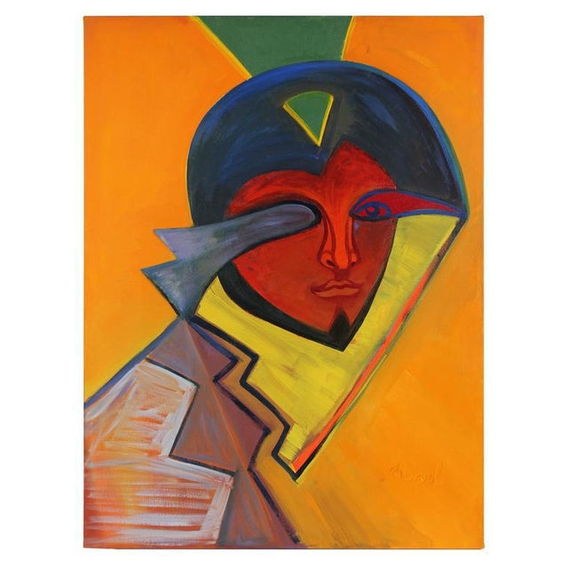 This mid to late 20th century oil on canvas portrait with orange is by Abstract Surrealist San Francisco artist Michael di...
