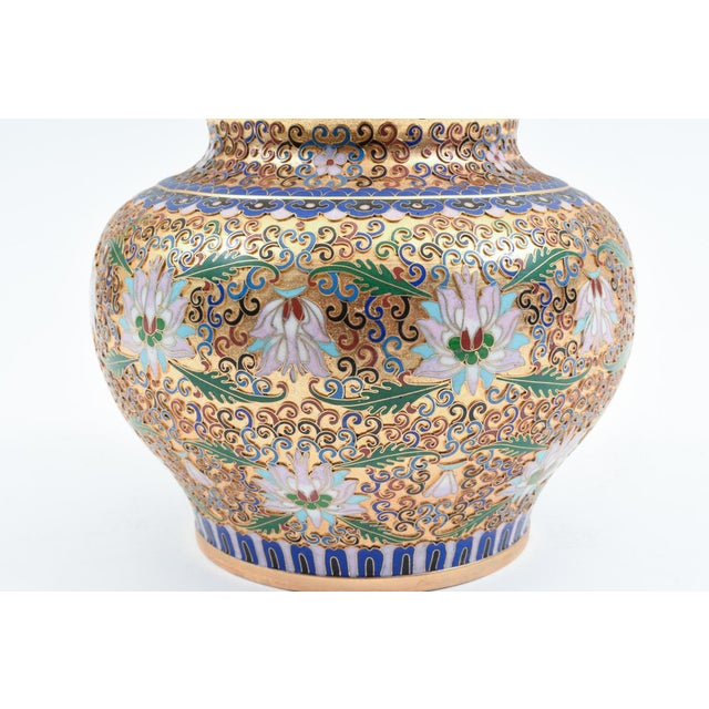 Covered Decorative Gilded Cloisonne Urn For Sale In New York - Image 6 of 10
