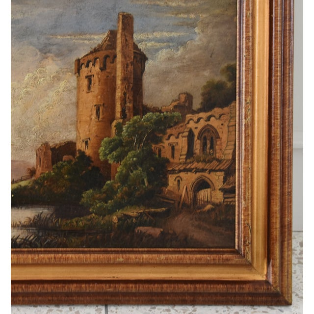Circa 1830s Antique English Castle & Cattle at River Painting For Sale - Image 4 of 11
