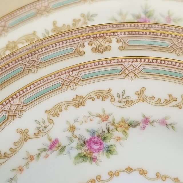 """Noritake Eire (4908) was produced from 1948 to 1951. The dinner plates and bread plates are marked """"Made in Occupied..."""