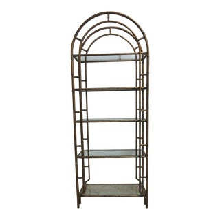 Vinntage French Regency Gold Faux Bamboo Metal Shelf For Sale