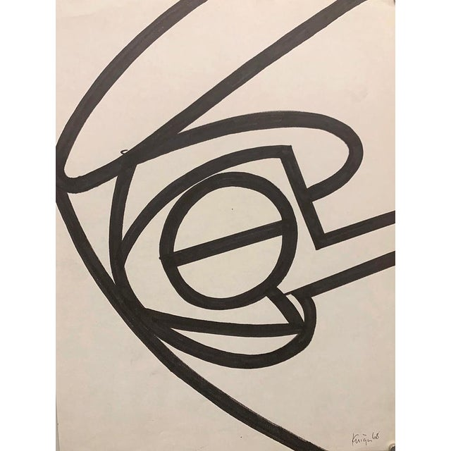 """Michael Knigin Abstract 1 1967 Ink brush drawing on paper 10.5""""x14"""" unframed Signed and dated in ink lower right Came from..."""