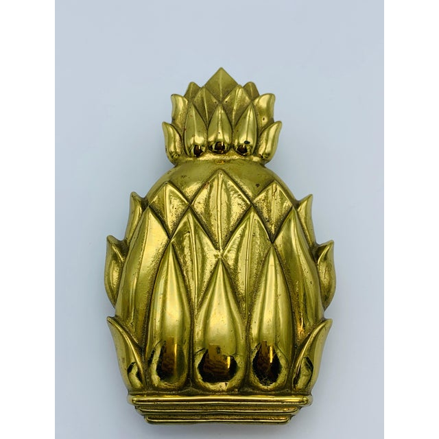 Listed is a stunning, solid-brass Virginia Metalcrafters pineapple door knocker, circa 1960s. Heavily polished and appears...