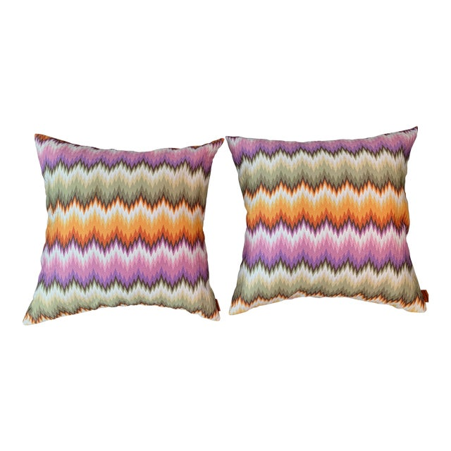 Missoni Home Multicolor Zig Zag Pillows - Pair For Sale