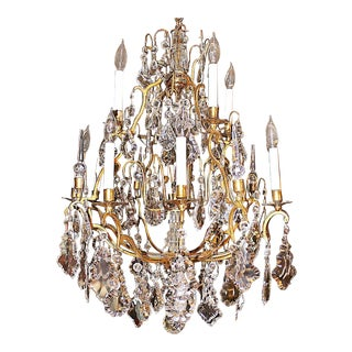 1950s Large Baccarat-Style Bronze Crystal Chandelier For Sale