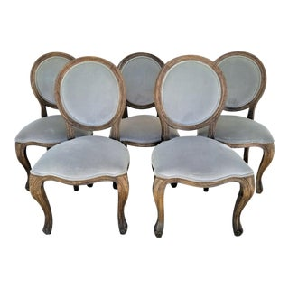 Arhaus Margot Bergère French Country Weathered Solid Wood Dining Chairs - Set of 5 For Sale