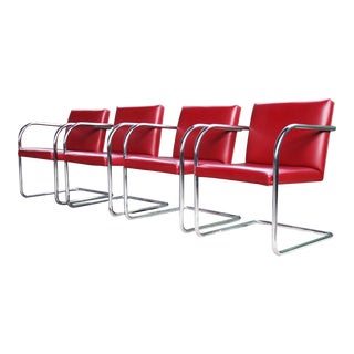 1970s Mid-Century Modern Thonet Mies Van Der Rohe Brno Red Chairs - 4 Pieces For Sale