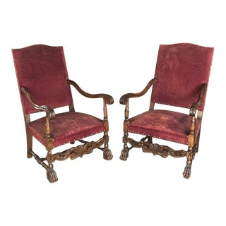 Pair 19th Century French Louis XIII Fauteuils ~ Armchairs For Sale