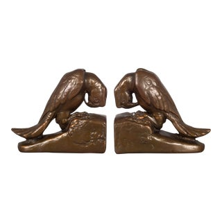 Copper Plated Parrot Bookends by Armor Bronze C.1930 For Sale
