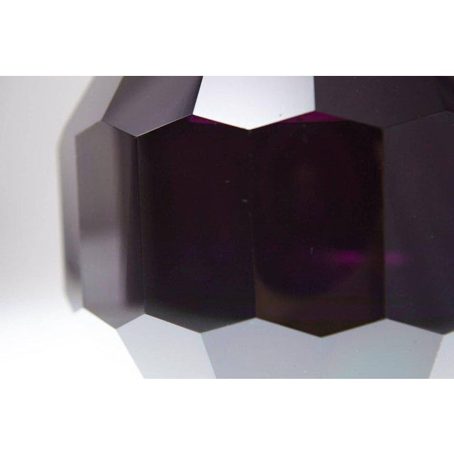 Crystal Dark Violet Hand Cut Crystal Vase Attributed to Josef Hoffmann for Moser & Söhne For Sale - Image 7 of 9