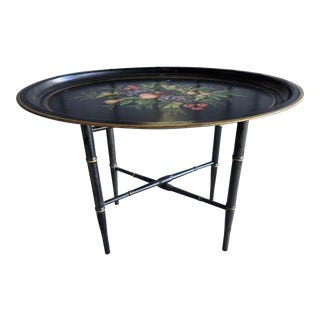 Handpainted Floral Tole Folding Coffee Table For Sale