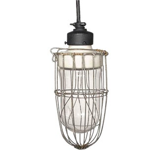 1920 Industrial Cage Pendant Light With Porcelain Fixture For Sale