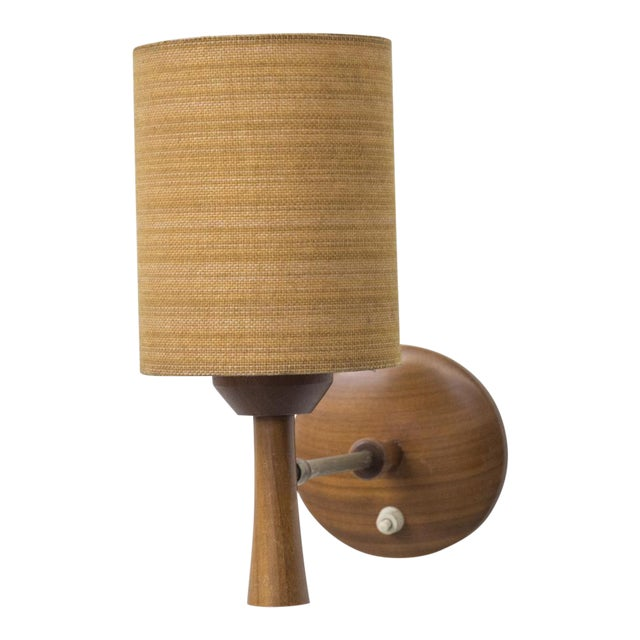 Mid-Century Teak and Brass Wall Lamp - Image 1 of 11