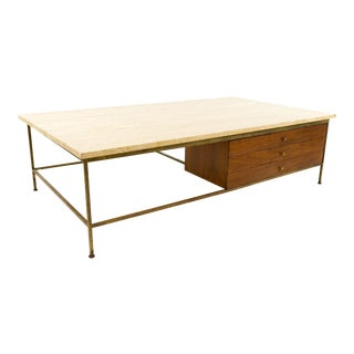 Paul McCobb for Calvin Travertine and Brass Coffee Table For Sale