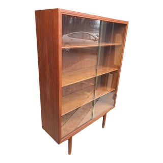 Borge Mogensen Teak Bookcase Glass Doors Soborg Mobelfabrik For Sale