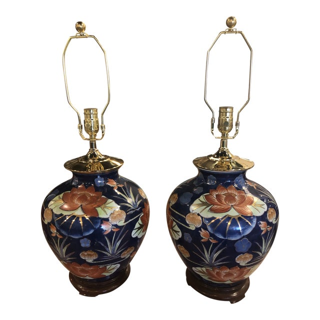 Vintage Chinoiserie Navy Blue & Orange Lotus Floral Brass Pagoda Table Lamps - a Pair For Sale