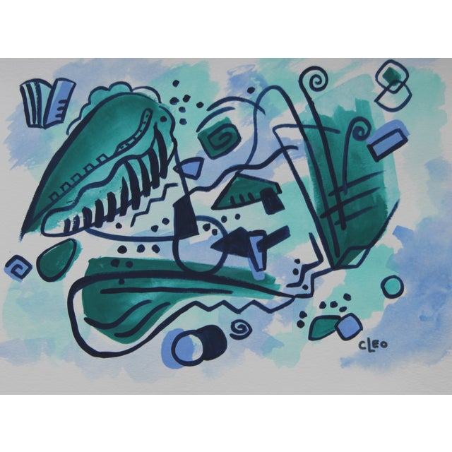 """Closet Geometric Teal"" Abstract Painting by Cleo - Image 1 of 2"
