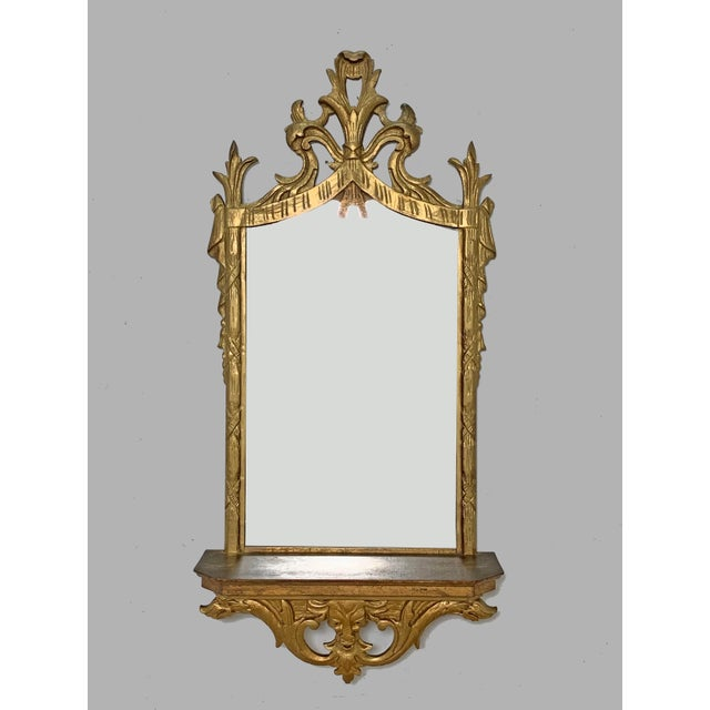 C. 1950s Hollywood Regency Style Italian Carved Giltwood Mirror With Under Shelf For Sale - Image 9 of 9