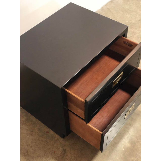 2 Drawer Henredon Black Lacquered Campaign Chest For Sale - Image 9 of 12