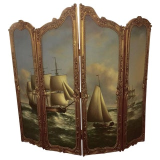19th Century Large Gilded French Four Panel Nautical Painting Screen