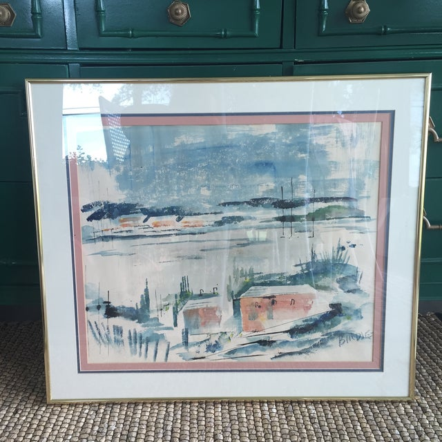 Mid Century Modern Alfred Birdsey Abstract Modernist Ocean Seascape Watercolor Painting Signed - Image 11 of 11