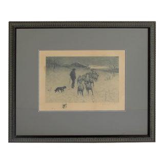 Late 19th Century Winter Landscape Etching Signed R. Legrande Johnston, Framed For Sale