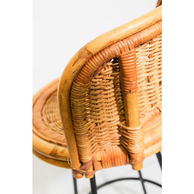 Vintage Swivel Woven Rattan Bar Stool, 1960s - a Pair For Sale - Image 10 of 13