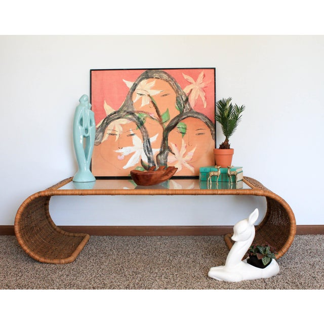 Scroll Wicker Coffee Table For Sale - Image 9 of 11
