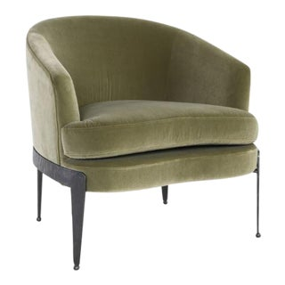 Kenneth Ludwig Chicago Aurelia Green Velvet Chair For Sale