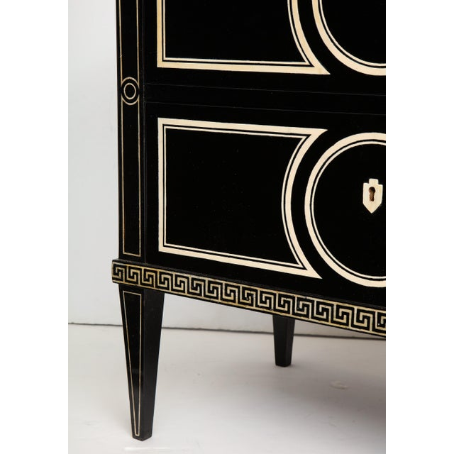 Mahogany Pair of Custom Neoclassic Hand-Painted Commodes For Sale - Image 7 of 12