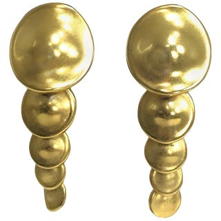 Robert Lee Morris Articulated Matte Gold Earrings 1980s For Sale