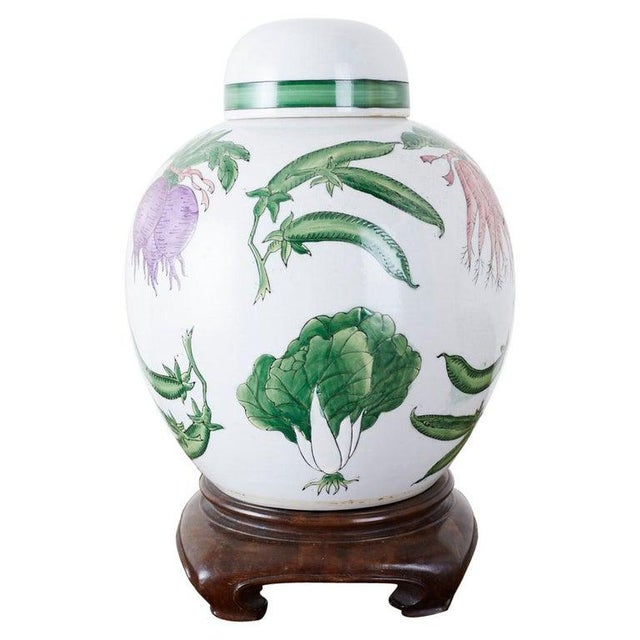 Chinese Export Porcelain Lidded Ginger Jar on Stand For Sale - Image 13 of 13