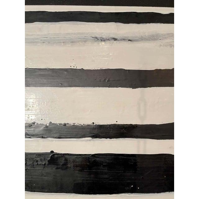 """Black Lynn Basa Encaustic Black and White Stripe Panel """"Doppleganger"""" 2013 For Sale - Image 8 of 12"""