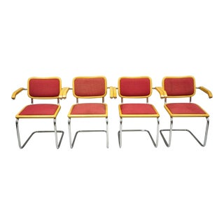 Loewenstein Italian Marcel Breuer Cesca Style Upholstered Dining Arm Chairs - Set of 4 For Sale