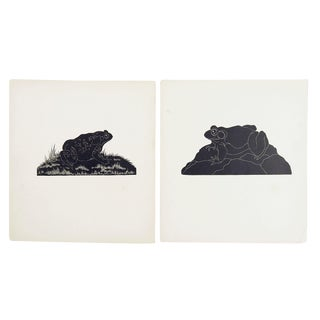 Frog & Toad Block Print Illustrations - A Pair For Sale