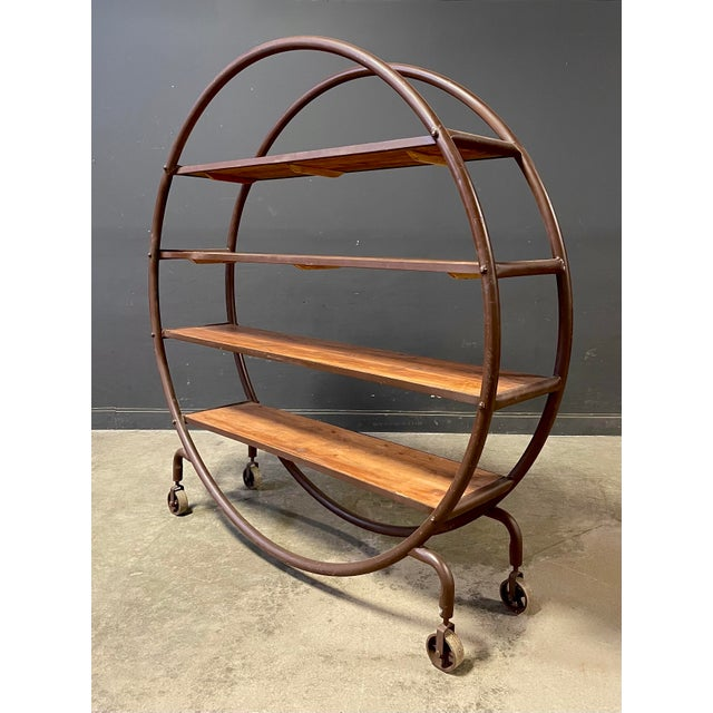 Industrial Antique Round Book Shelf For Sale - Image 3 of 8