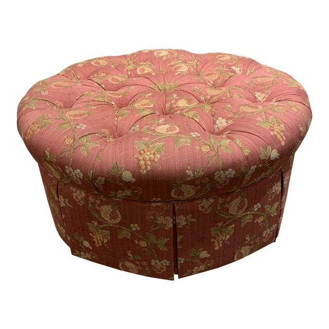 Scalamandre Pomengrante Fabric Round Tufted Ottoman For Sale