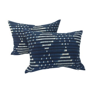 Striped Indigo African Pillows - Pair For Sale
